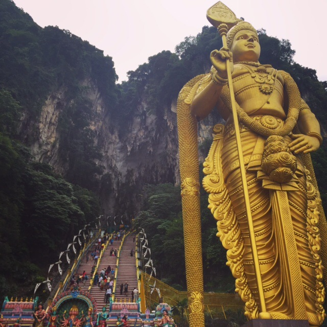 The statue of Murugan at the Batu Caves, the tallest Murugan statue of the world.