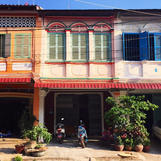 Just a little of the pretty colonial architecture in Kampot, Cambodia
