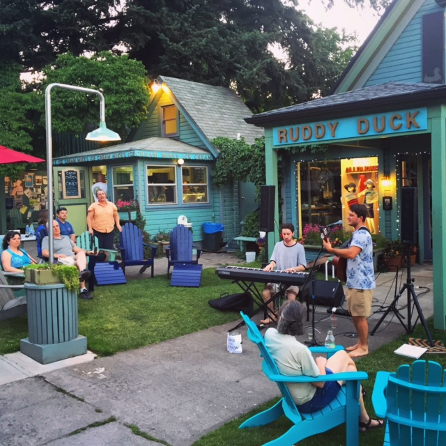 Chilling with ice cream and some local jams at Mike's Ice Cream in Hood River, Oregon