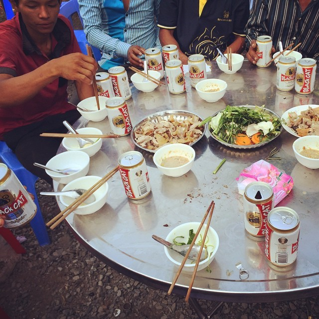 Feasting with the locals of Damskal village on Koh Rong, Cambodia during a village party