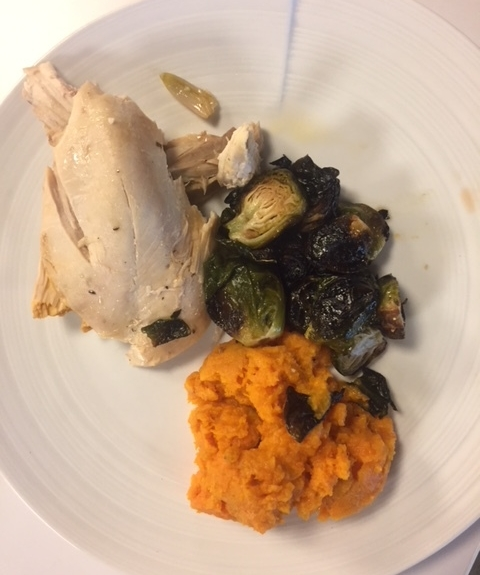 Better than prison food: roast chicken, brussels sprouts and sweet potato