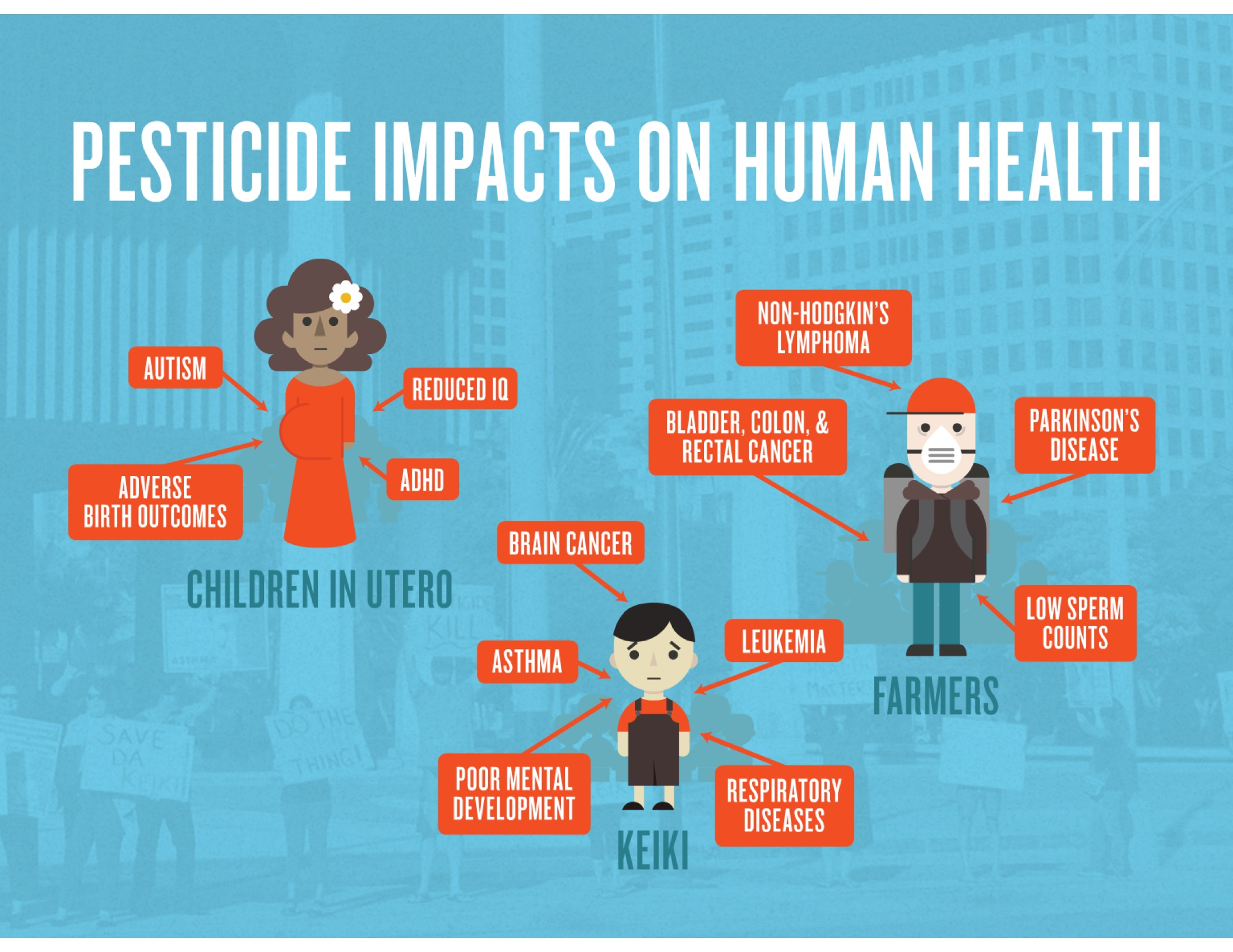 In general farmers, farmworkers, pregnant women, and children are at greatest risk: farmers are more highly exposed than the general population; and children are more susceptible to the harmful effects of pesticides than adults.