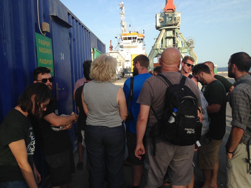 That blue freight container is passport control…