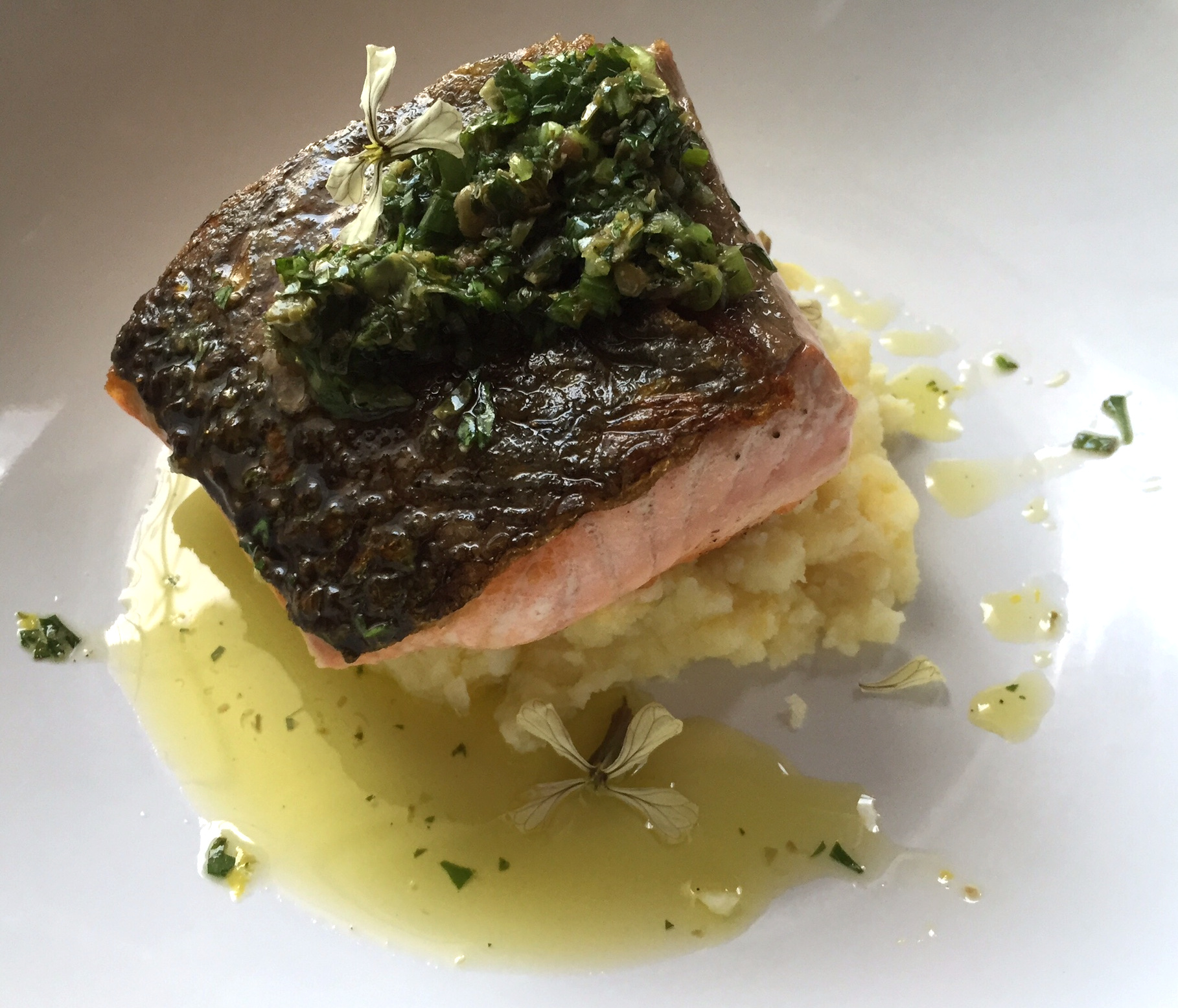 seared salmon with salsa verde and mashed potatoes