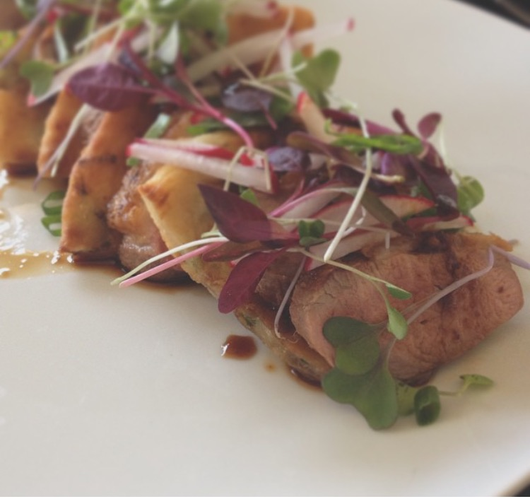 seared duck breast with scallion pancake