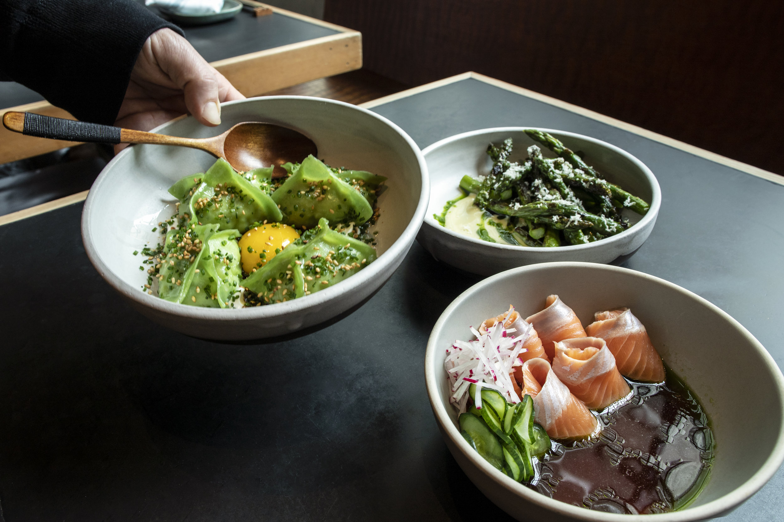 Onsen's Poke, asparagus skewers and grilled artichoke