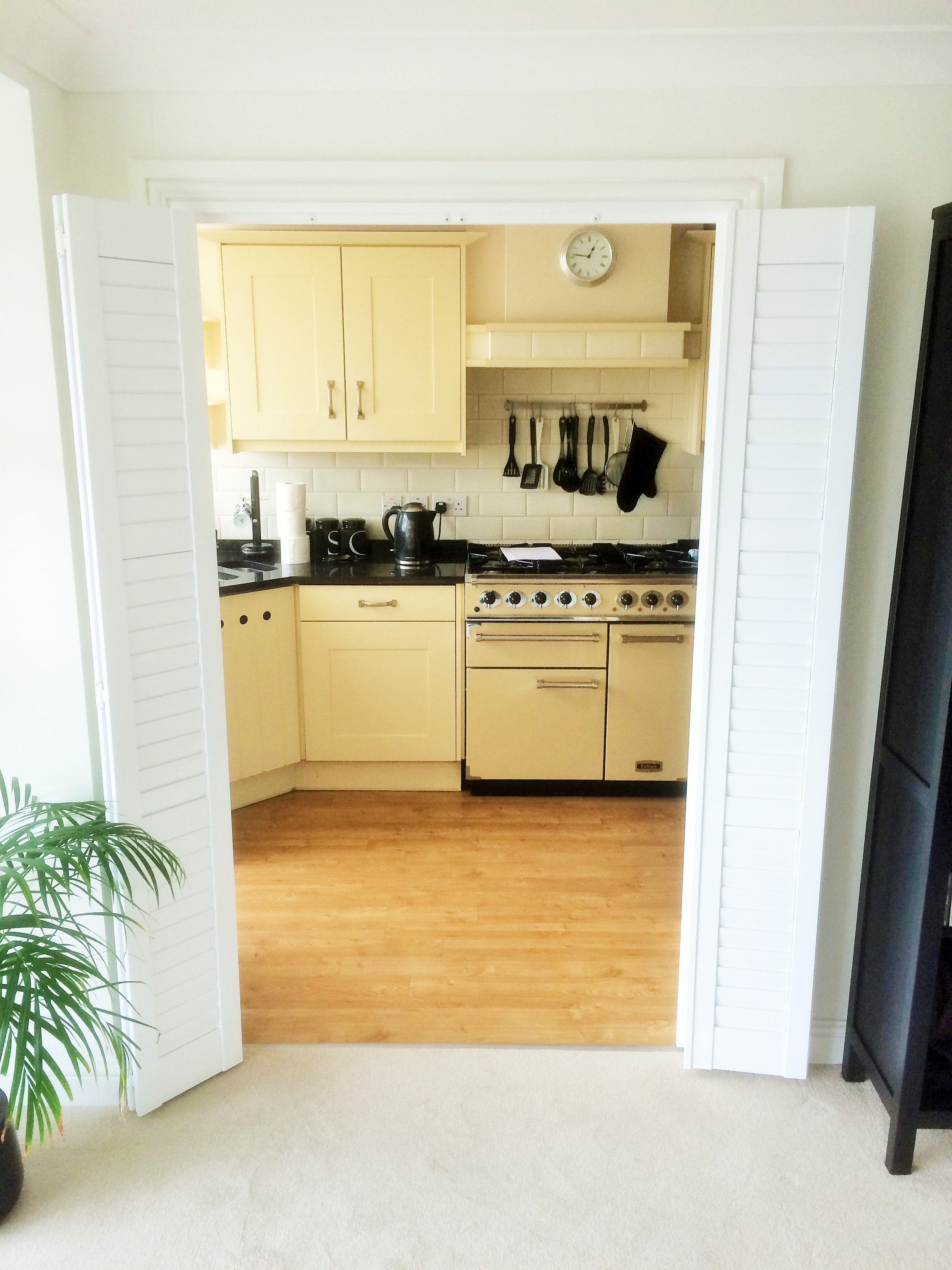 Wooden shutter blinds as room dividers