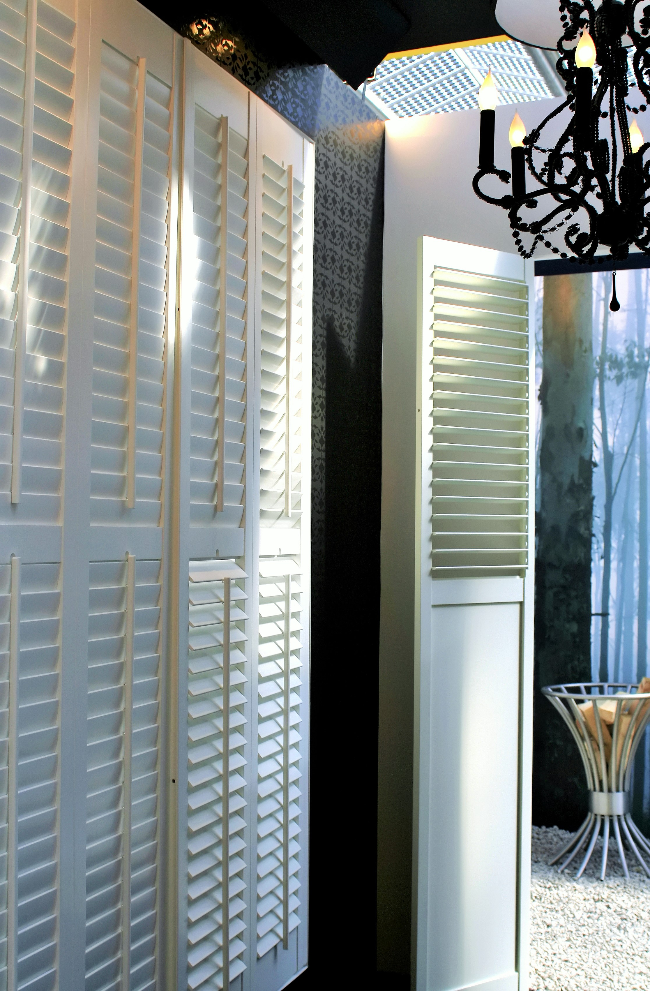 White shutters in interior space