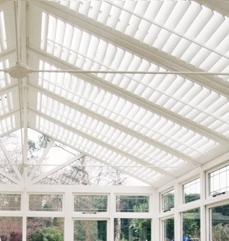 Interior plantation shutters in conservatory Southampton