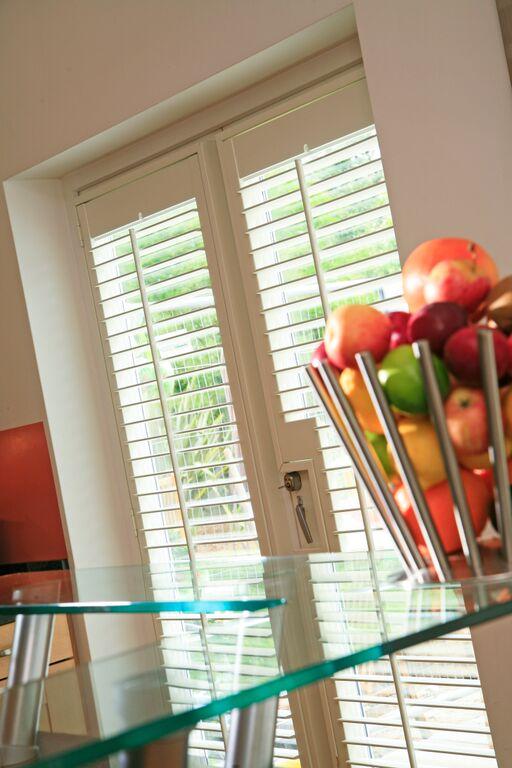 Patio door wooden shutters Dorset Hampshire