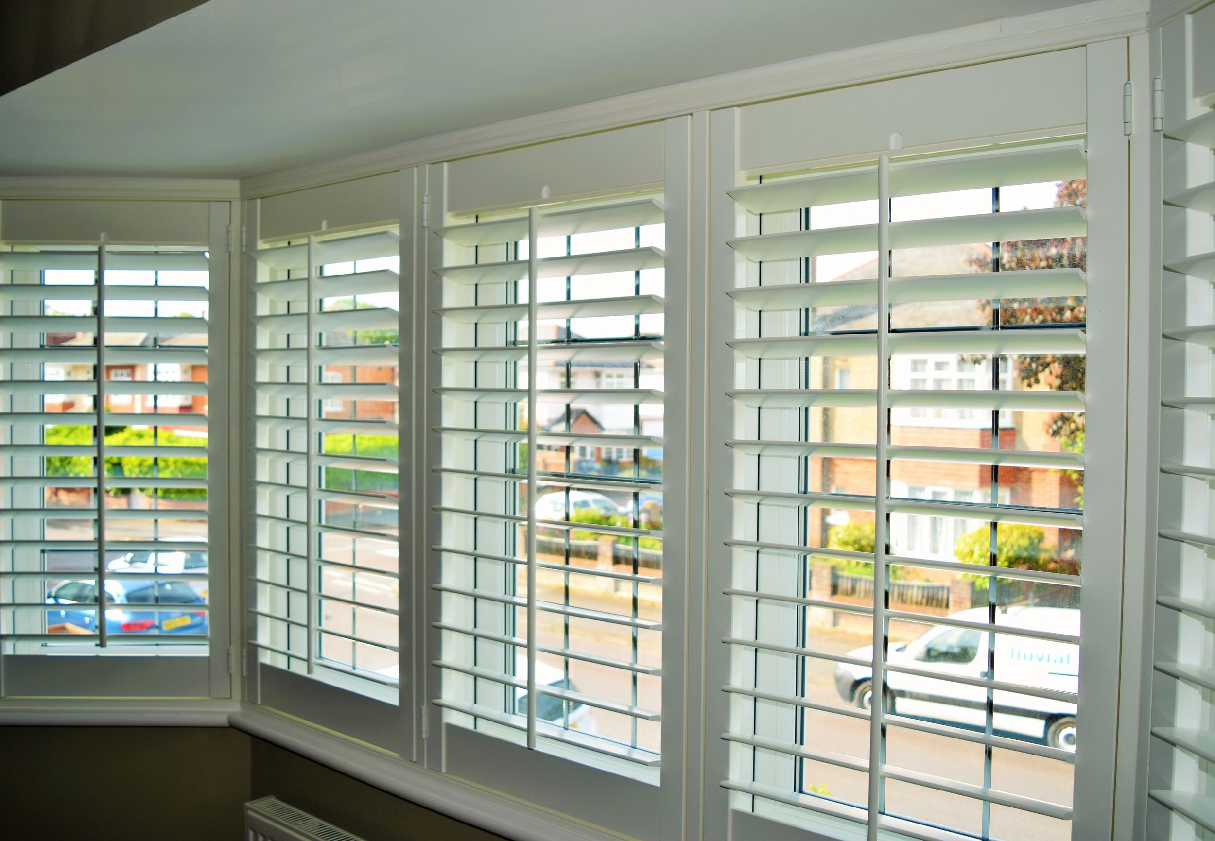 Interior bay window shutters