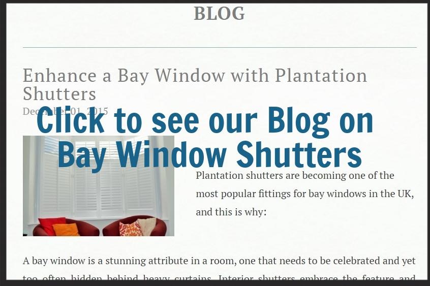 Wooden interior shutters bay window