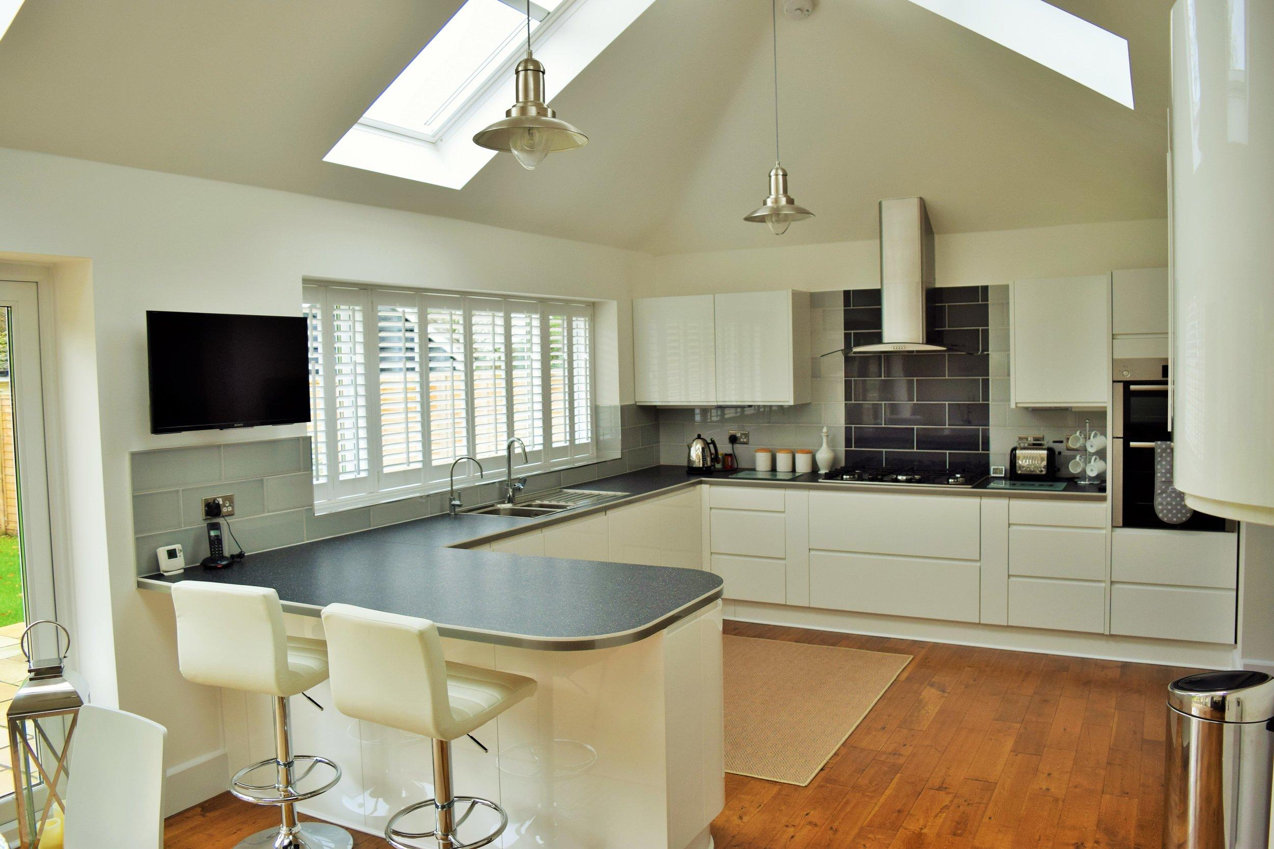 Beautiful kitchen with interior folding plantation shutters Christchurch
