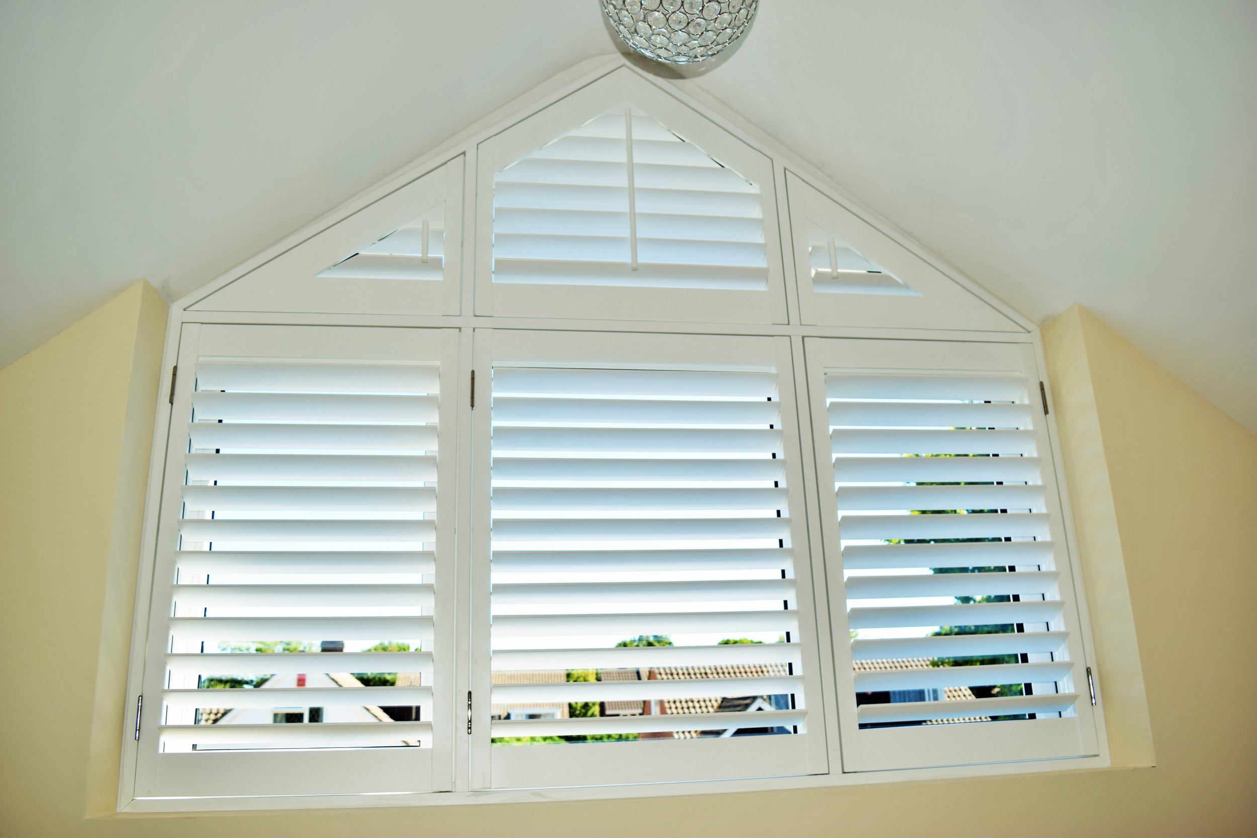 Triangle shape window plantation shutters Lymington Hampshire