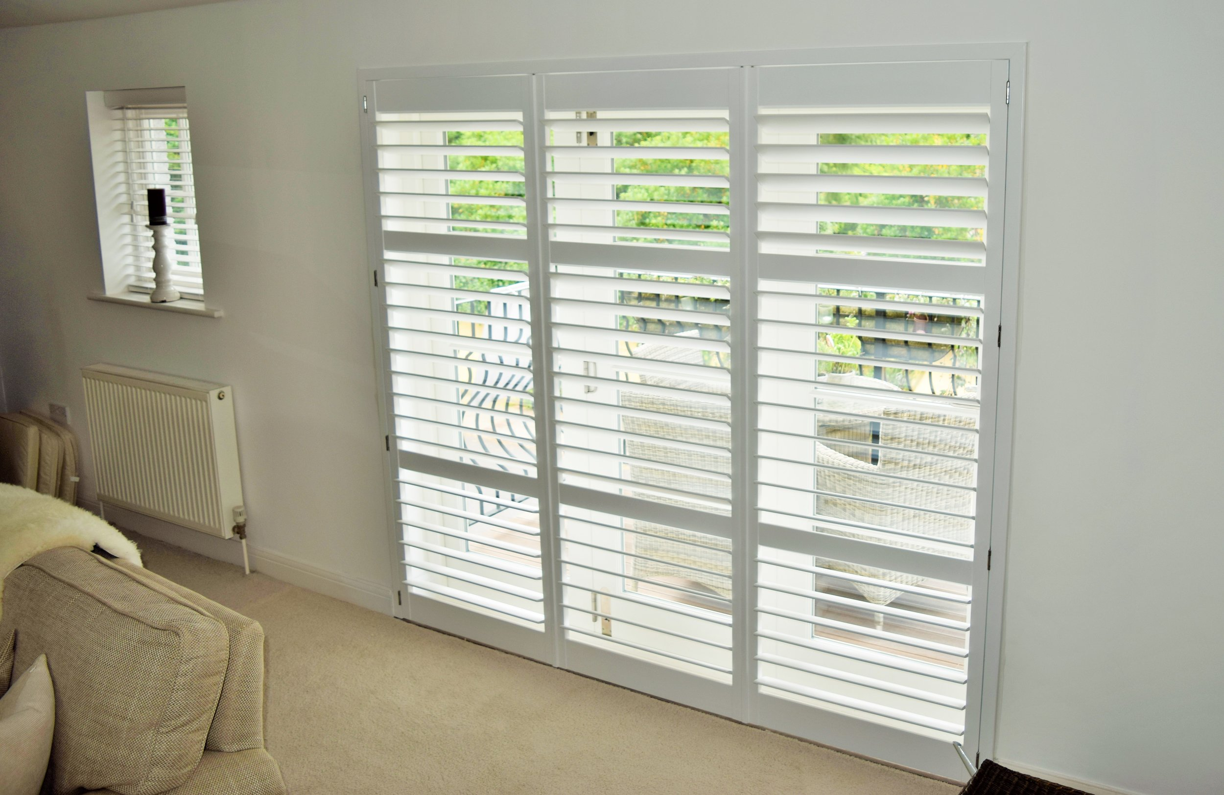 White patio door timber shutters Poole Bournemouth
