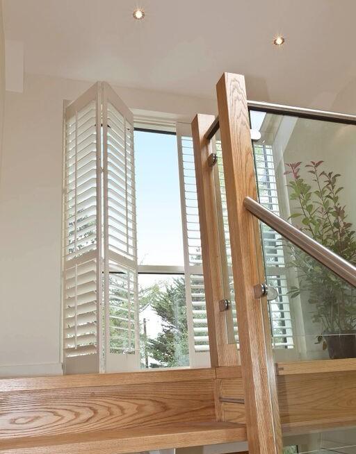 Patio door plantation shutters full height