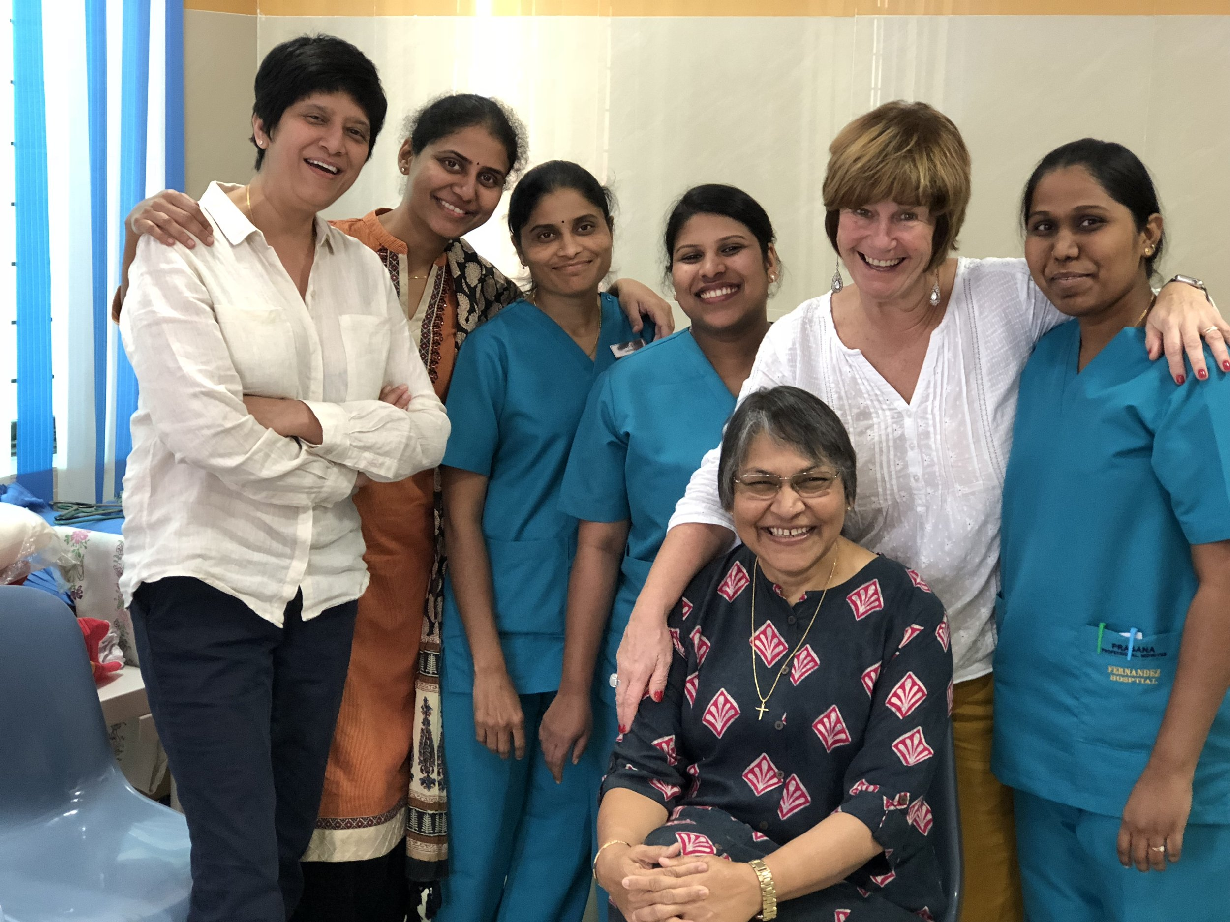 Just enjoying being together at lunch time - left to right - Indie Kaur, Dr Rajitha, midwives Manjula, Siji,me, midwife Prasanna and Dr Evita Fernandez