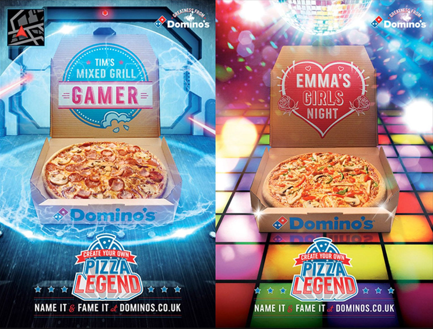 The Pizza Legends campaign and digital platform allows users to choose a pizza base, sauce, and topping combination with a few extra magical ingredients thrown in. Examples shown are digital out of home executions, the creative was also used across social and digital channels. -
