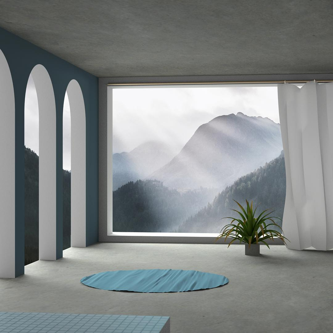 Here is a short series I made experimenting with architectural spaces, light and generative design. The base each time was stock landscape photography around which I built a semi realistic architectural scene and added surreal generative geometry and shapes. Trying to take the emotion of a photograph and push it into a space of semireality. -