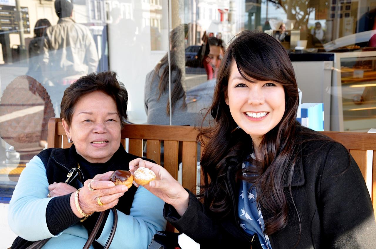 """With my Lola   in San Francisco. Lola means """"grandmother"""" in the tegalog language."""