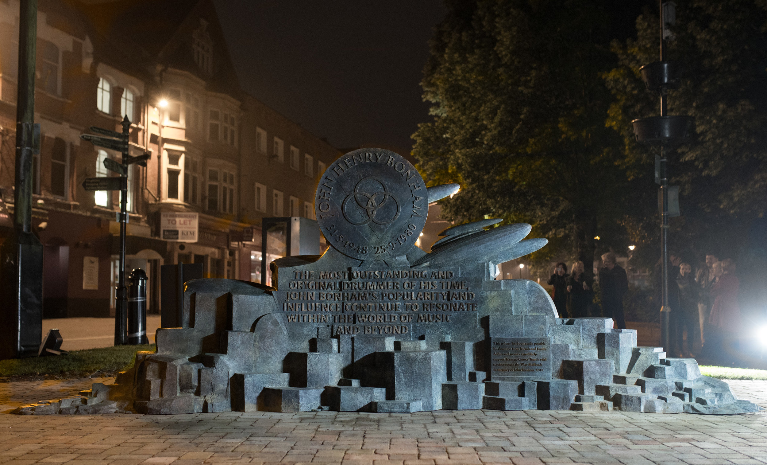 John Bonham memorial sculpture was commissioned in 2018 and unveiled in the same year on 31st May to coincide with what would have been John's 70th Birthday. This photograph of the inscription side was taken during the overnight installation.