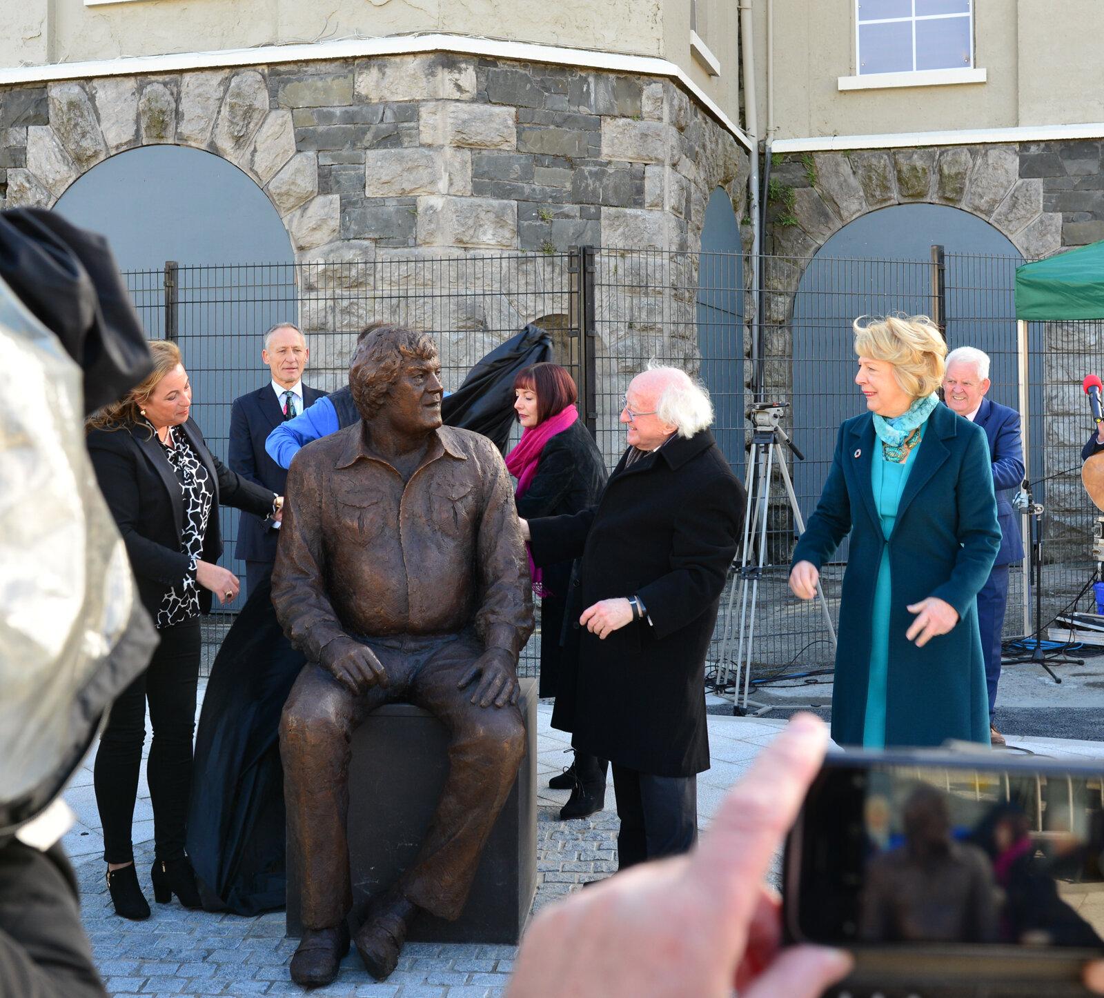 President Michael D Higgins unveils the sculpture.