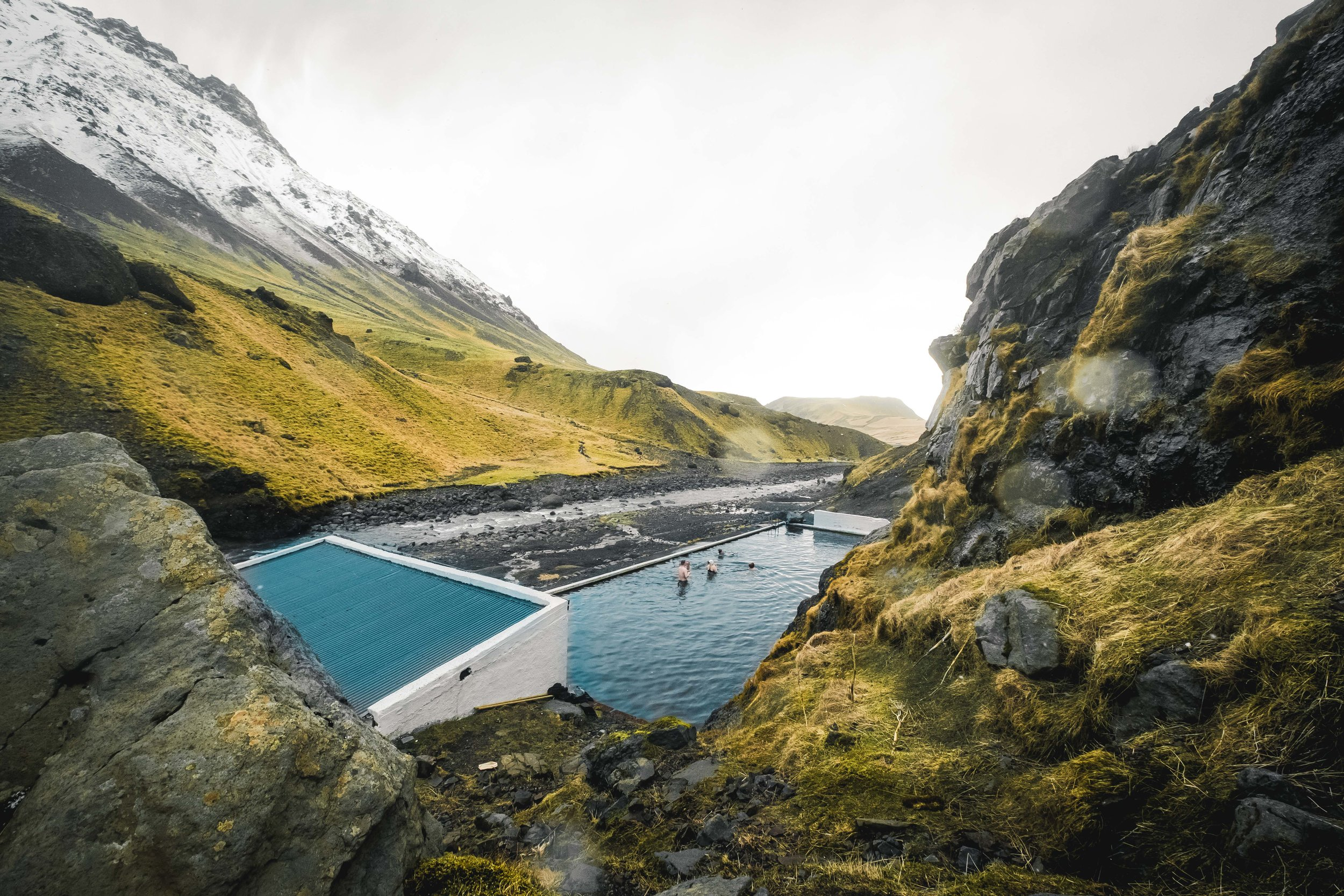 From frozen water, we headed to hot springs.. Seljavallalaug - Iceland's oldest swimming pool. Not a bad location for a swimming pool is it?