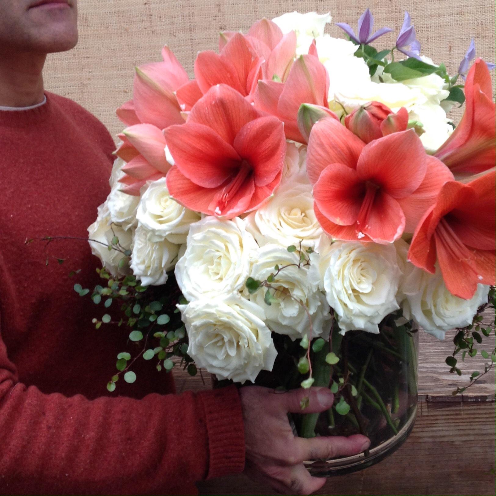 White Roses with Amaryllis makes a big lush statement starting at $250