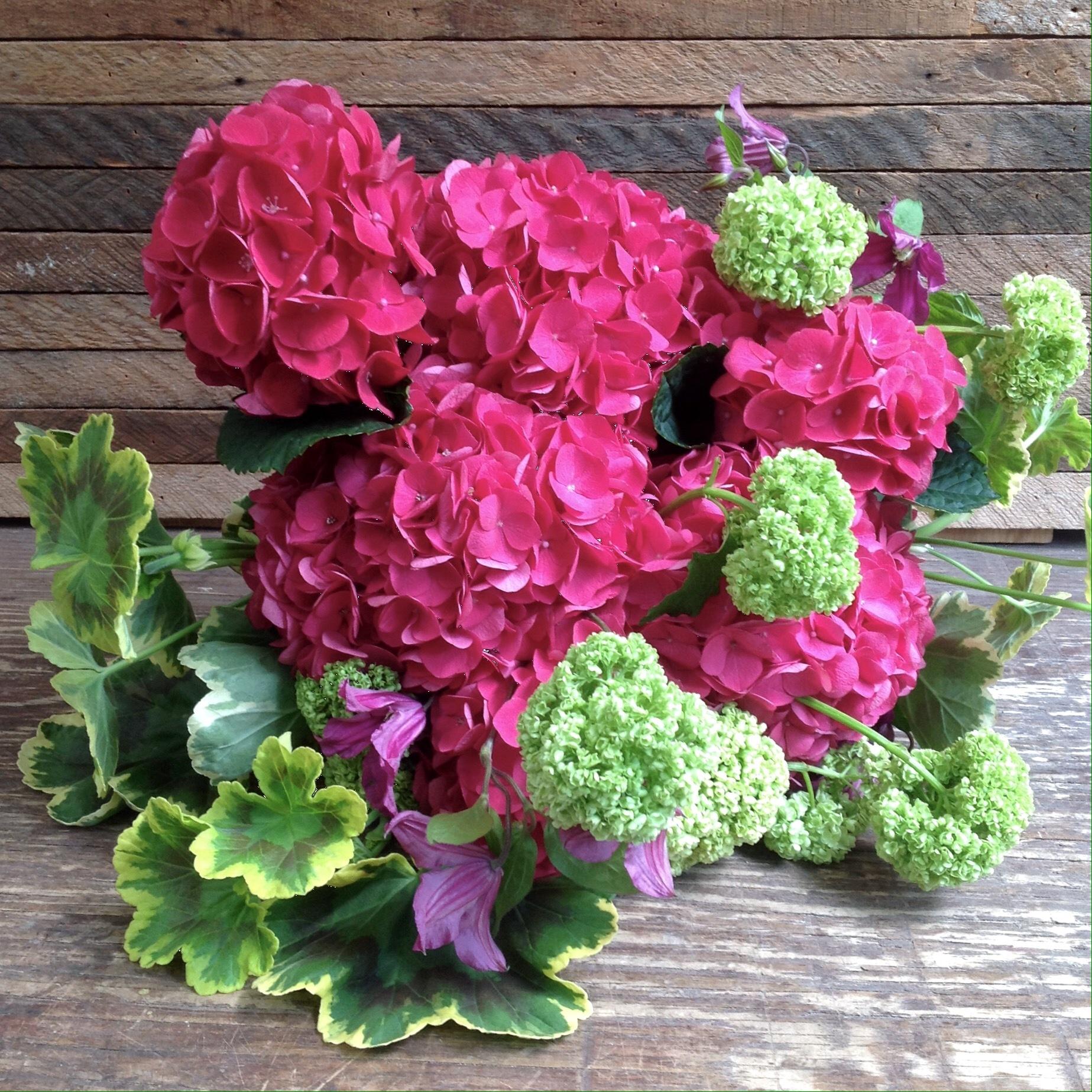 Pink Hydrangea wrapped bouquet