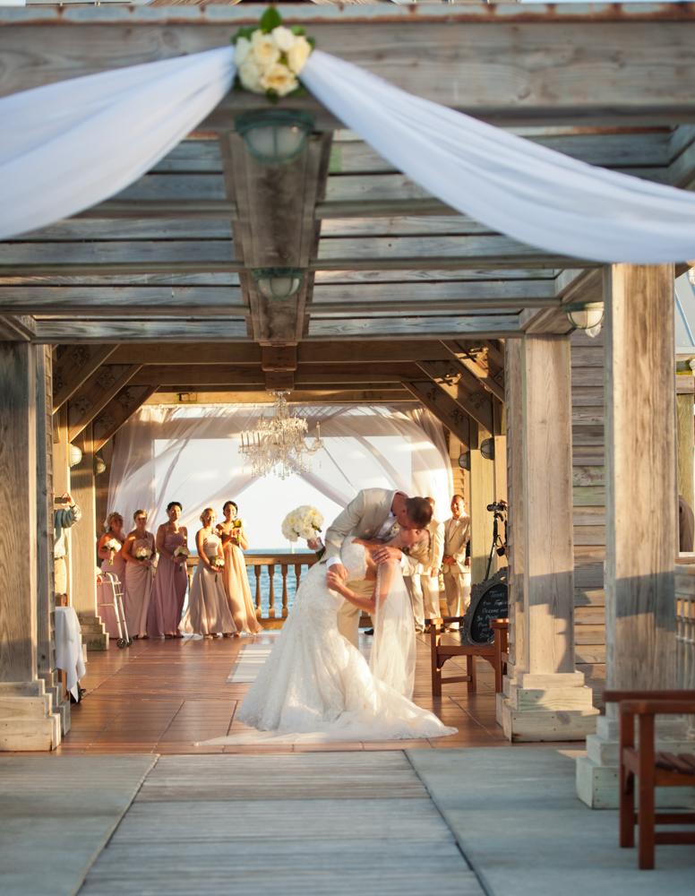 Bride and groom kiss Key West wedding