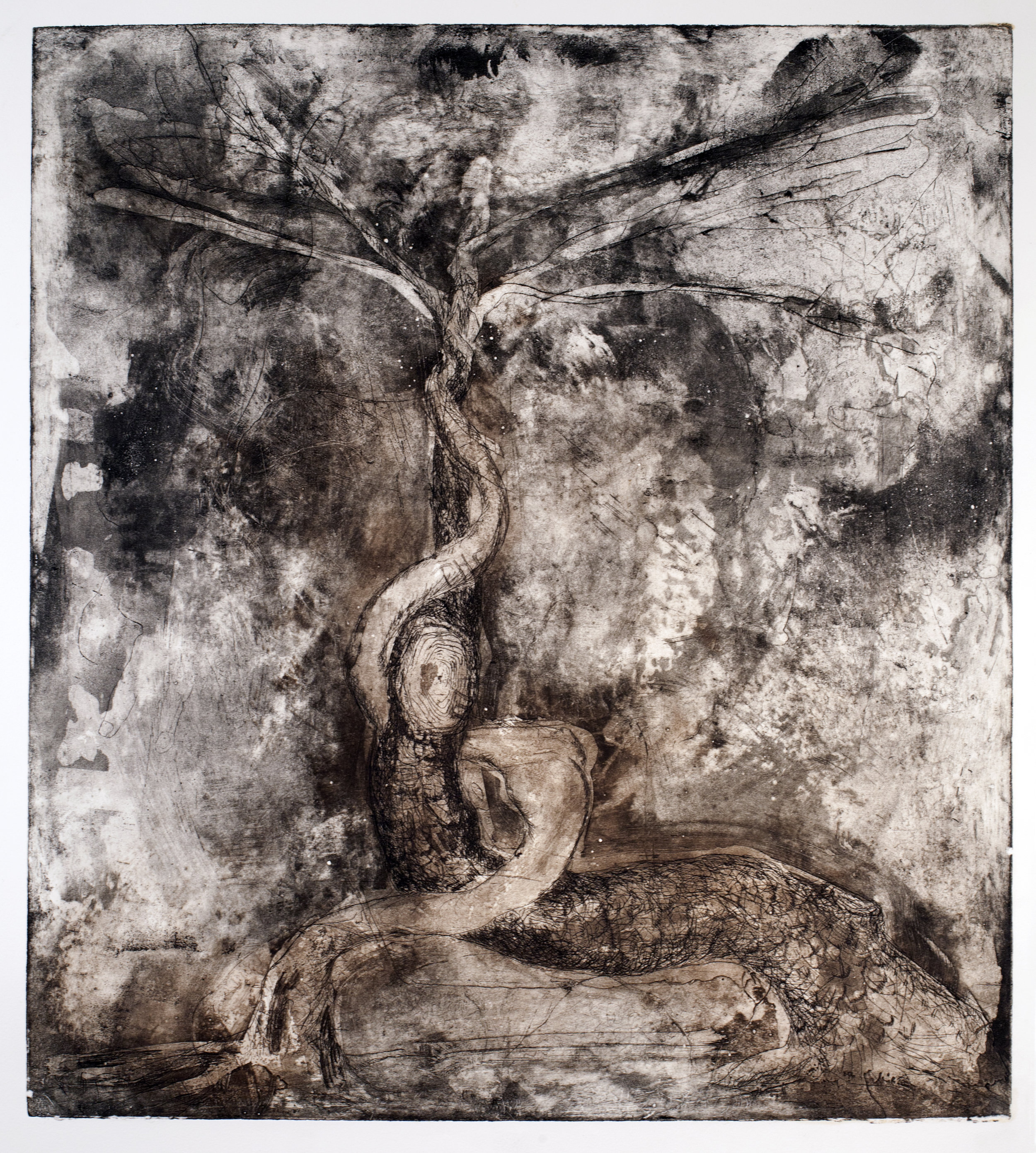 Tree  of hand etching