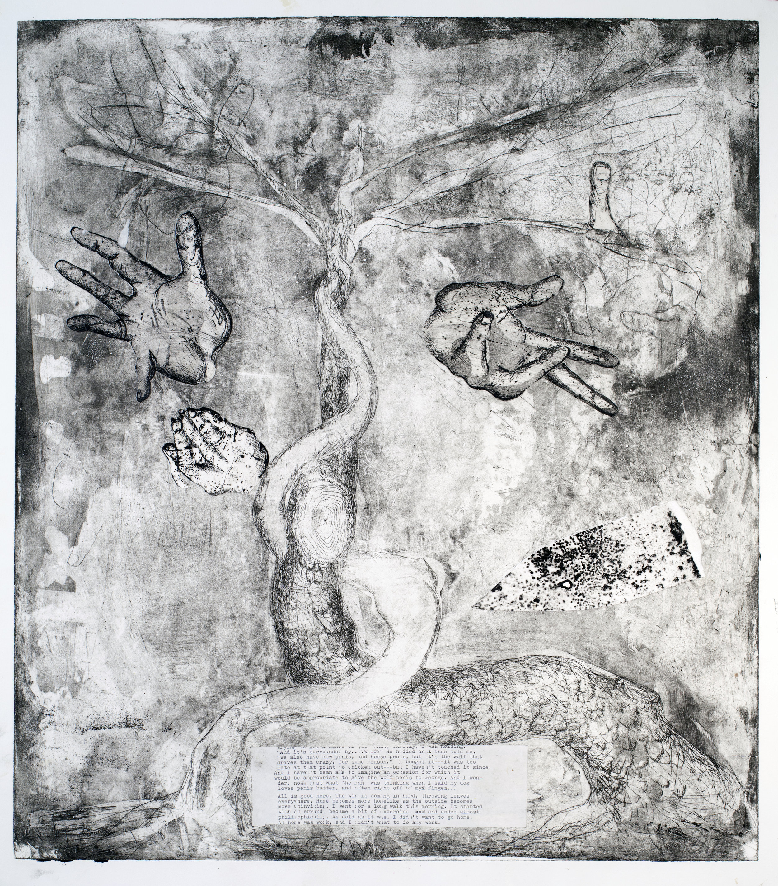 tree of hand  variation etching