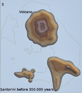 Santorini 350.000 ago: A new volcano is created in the North