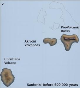 Santorini 600.000 ago: Christiana and Akrotiri Volcanoes