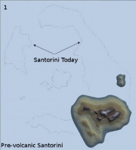 On the background is the layout of Santorini today. On the south you can see the rocks that existed before everything else was created. This is what pre-volcanic Santorini looked like.