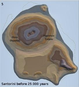 Santorini 25.000 ago: A new, bigger volcano is created.