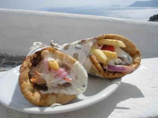 Another Gyros in Santorini. I bet you are hungry now.. Photo by  realfoodtraveler