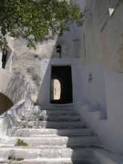 """The entrance to the castle of Pyrgos, Santorini. Also known as """"The Door""""."""