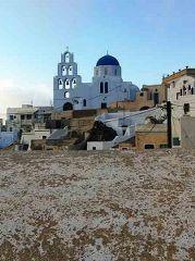 Aghia Theodosia Church in Pyrgos, Santorini. Impossible to miss it.