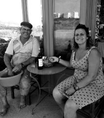 The lovely owners of The Good Heart: Anna and Michalis
