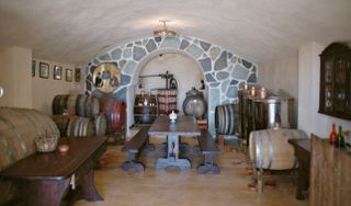 This is the traditional wine cellar, where you can taste the local wines and learn how we make them.