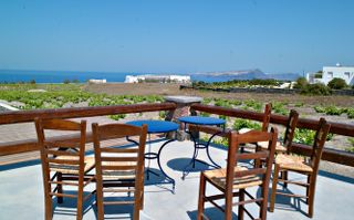 The terrace in Faros Market..