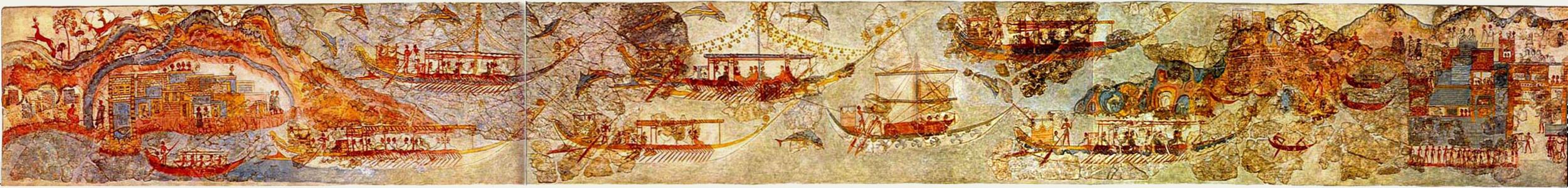 Ship Fresco, Akrotiri, Santorini   By pano by smial - Own work, Public Domain