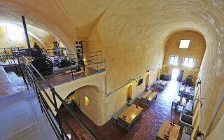 The inside of Venetsanos Winery. Photo from  Greece-Is .