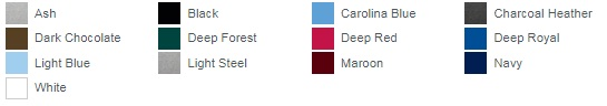 Ash Black Carolina Blue Charcoal Heather Dark Chocolate Deep Forest Deep Red Deep Royal Light Blue Light Steel Maroon Navy White