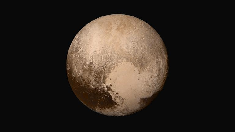 PIA19857: Pluto in True Color  (New Horizons photo).   Image Credit : NASA/Johns Hopkins University Applied Physics Laboratory/Southwest Research Institute.