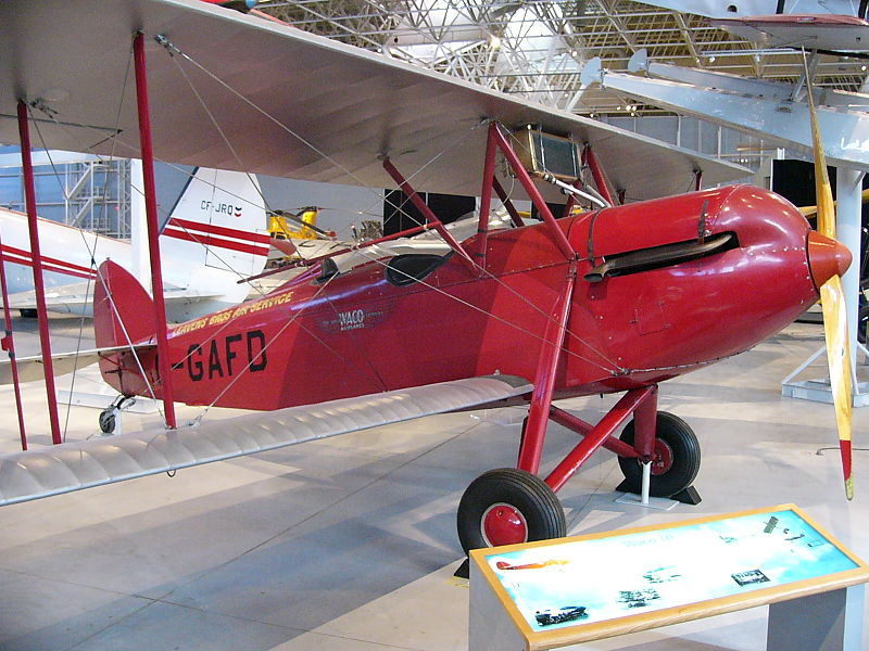 WACO 10 in the Canada Aviation Museum, Ottawa, Ontario, Canada. Image source:  Waco 10 (GXE) 01.JPG  by  Ahunt  is in the  public domain .