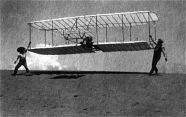 The second Wright glider was flown at Kitty Hawk, N.C., in July and August 1901. (U.S. Air Force photo).  Wright Brothers, 1901 . Image source:  National Museum of the U.S. Air Force , public domain.