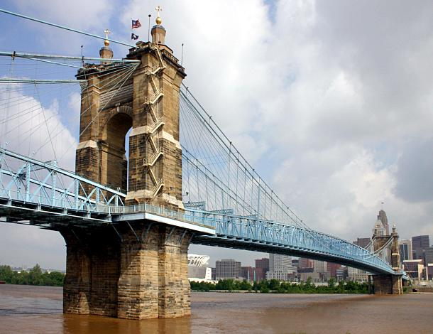 John A. Roebling Bridge, Covington-Cincinnati, 2004, by Rick Dikeman. Image source:  CovingtonKY JARoeblingBridge.jpg  by  RickDikeman  is licensed under  CC BY 3.0