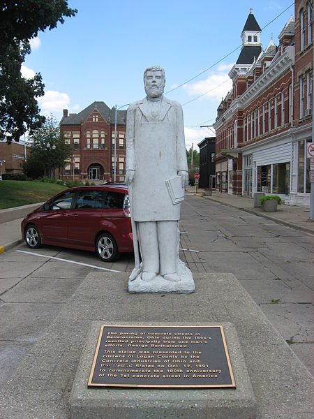 Statue of George Bartholomew on Court Avenue in Bellefontaine, Ohio, United States, 12 August 2008. Image source:  Bartholomew statue, Court Avenue, Bellefontaine.jpg  by  User:Nyttend , licensed under  Public Domain Mark 1.0